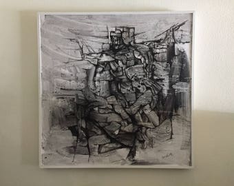 Tom McClure Indian ink on Gesso Large Original Mid Century Modern Painting