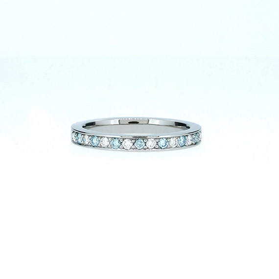 Blue and white diamond wedding band palladium ring blue
