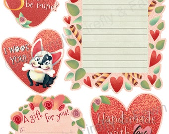 Printable Valentines Day Pack Cards // Valentines Kit // Valentines Day Pack // Digitial Valentines Day Cards // Valentines Day Tags Print