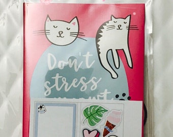 Don't Stress Cats Sticky Notes by Recollections - 140pc/pack - Page Marks/Sticky Pads/Page Notes