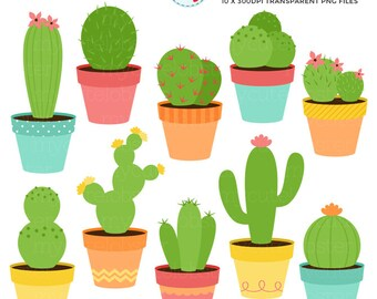 Cactus Clipart Set - clip art set of cactus, cacti, cactuses, plants, desert, pots - personal use, small commercial use, instant download