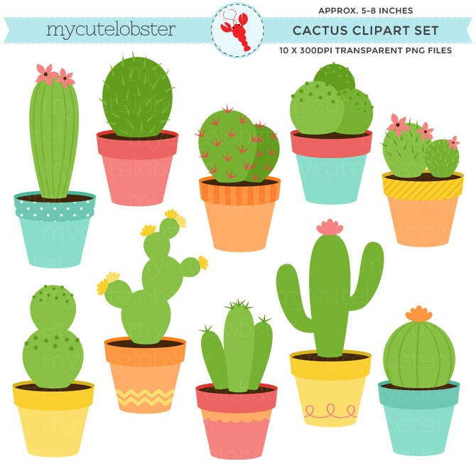 cactus clipart set clip art set of cactus cacti cactuses rh etsy com cactus clip art black and white image cactus clipart