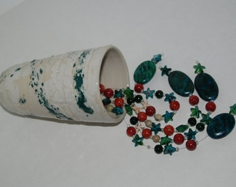 Handmade pottery bell with beads. Handmade pottery wind chime. Bell chime.