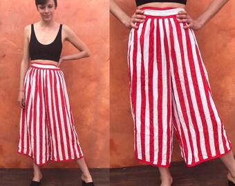 Vintage 1980s 1990s Red White Striped palazzo pants. wide leg pants. Culottes culotte pants. high waist pants high waisted pants