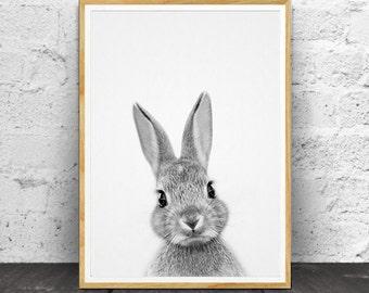 Rabbit Print, Woodlands Nursery, Rabbit Wall Art Decor, Black and White Animal Print, Printable Art, Black and White, Wall Art,  Nursery Art