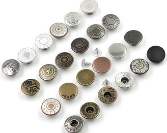 10 Pcs 0.67 Inches Bronze/Silver/Gun/Black/White Snap Fastener Metal Shank Buttons For Jeans