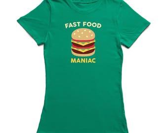 Fast Food Maniac Burger Design Women's T-shirt