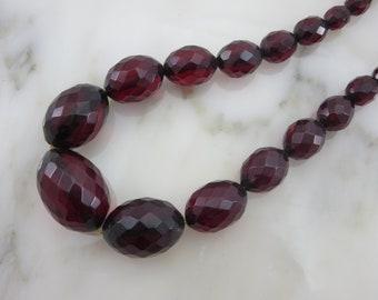 Bakelite Jewelry - Cherry Red Prystal Necklace - Beaded Faceted Bakelite