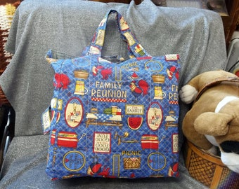 Cotton Shopping Tote Bag, Family Reunion Blue Print