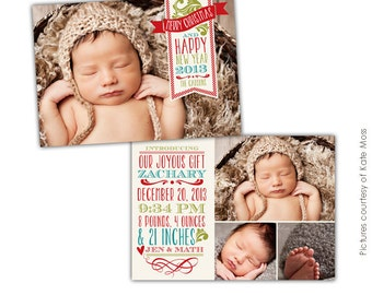 Birth Announcement Photoshop Template INSTANT DOWNLOAD - Christmas birth announcement