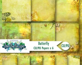Butterfly Commercial and Personal Use Background Papers DESIGNER STOCK set of 6 for Digital Scrapbooking or Craft projects BUTTERFLY Papers