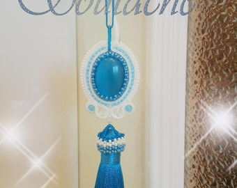 "Soutache Christmas tree toys ""Snow Maiden"", beautiful New Year's gift."