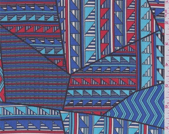 Turquoise/Red Triangle Patchwork Polyester Chiffon, Fabric By The Yard