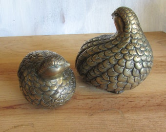 Vintage Pair Brass Quail Figurine.