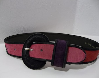 Multi-colored Suede Belt - Pink - Purple - Yellow - Red - Orange - Black / Small/Medium