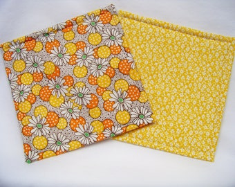 Get A Grip in Polka Dot Flowers in Yellow - Set of 2 - Jar Opener - Lid Opener - Non Slip - Gripper - Ready To Ship