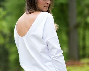 White open back longsleeve, neck deep, open back, loose shirt, open back, minimalist, loose longsleeve, oversize, white longsleeve, white