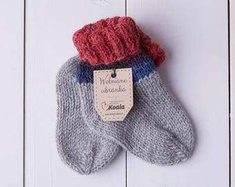 Hand knitted woolen socks for baby boy and baby girl, gift idea.