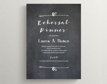 Printable Wedding Rehearsal Dinner Invitation \ Rustic Chalkboard Invite (RD87)