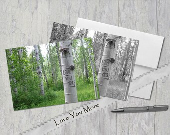 Love You More, Digital tree carving with message, Aspen Trees in Field, Greeting Card, Under 5 Dollars, Wedding, Black & White OR Color