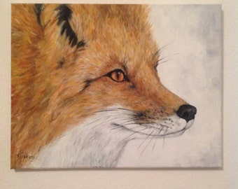 10% off Sale - Fox in oils on canvas original painting