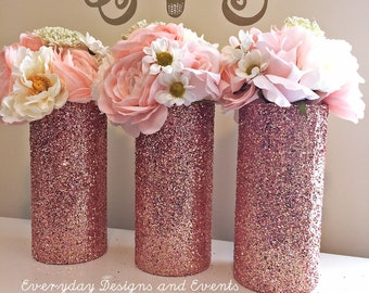3 Rose gold glitter vases, rose gold centerpiece, wedding centerpiece, wedding decoration, baby shower, bridal shower, wedding table vases