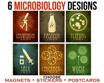 6 Microbiology Postcards or Magnets or Stickers. Microbiologist Art with Microscope, Vaccination, Bacteria. Student Teacher Science Gift