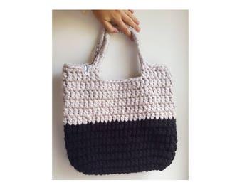 Crochet beach bag / chunky market bag / black beach bag / black shoulder bag / crochet shoulder bag / chunky black tote bag / black bag