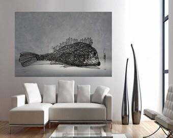 Printable art, Cotton canvas print, Paper print, Office decor,Animal wall art, Art Poster, livingroom wall decor, steampunk print, wire fish