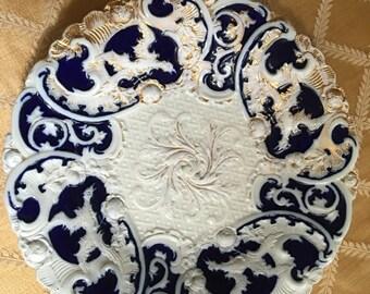 Antique rare sevres gold gilt cobalt blue cabinet plate