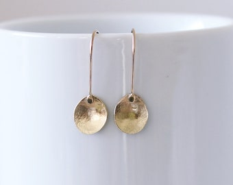 Organic textured solid gold dangle earrings- simple gold petal earrings