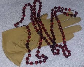 True Antique Vintage Czech Amber Glass Bead LONG Sautoir Necklace 1920's Flapper Era
