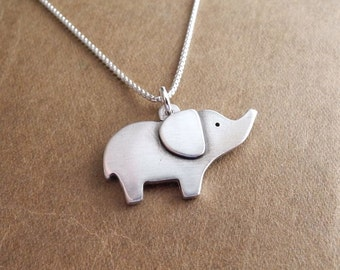 Elephant Necklace, Good Luck Elephant, Fine Silver, Sterling Silver Chain, Made To Order
