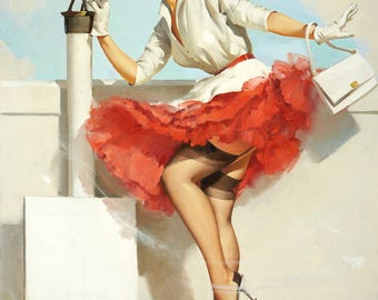 Pin Up Girl Art Print Reproduction, what_a_view_1957 by Gil Elvgren