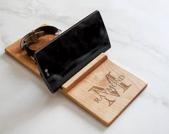 Personalized Docking Station, Personalized wooden phone stand, Custom Wood Organizer, Phone Stand, Gift for him