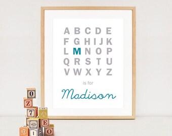ABC is for ... Nursery alphabet art print - Nursery wall decor - Monogram wall art baby names - DIGITAL FILE!
