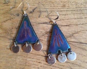 Purple enameled copper earrings