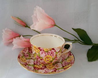 Colclough Chintz Teacup and Saucer Set, Made in England