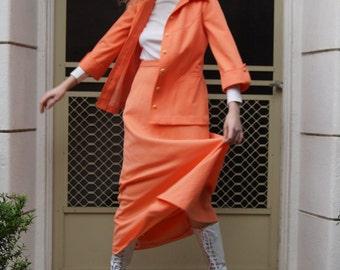Vintage 70s Orange Sherbet High Waisted Maxi Skirt