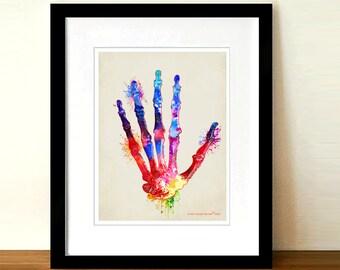 "Fine Art Print - ""Watercolor Hand "" 8.5"" x 11"", Anatomy Medical print, Nurse Graduation gift, Hand Therapist gift, Orthopedic Surgeon gift"