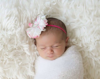 Floral Lace Flower Headband on Stretch Vintage Lace, photo prop, everyday wear, babies and up, newborn photographers, by Lil Miss Sweet Pea