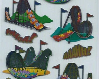 Stickers 3d embossed and metallized brand Sticko mountain Russian Roller coaster for scrapbooking