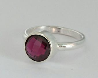 Sterling silver handmade rhodolite garnet checkered cut ring, hallmarked in Edinburgh