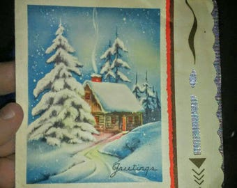 Vintage 1930s Christmas & New Years Card- Snow Cabin