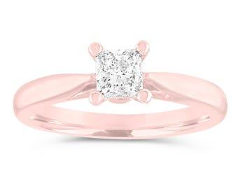 Solitaire Engagement Ring, Princess Cut Diamond Bridal Ring, GIA Certified Wedding Ring, 0.50 Carat 14K Rose Gold Handmade