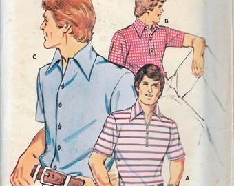 "Vintage 1970's KWIK SEW 326 Retro Men's Short Sleeved Shirt Sewing Pattern Size 32""-34""-36""-38"" UNCUT"