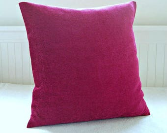 cushion cover accent cerise fuchsia pink, decorative pillow cover 20 inch