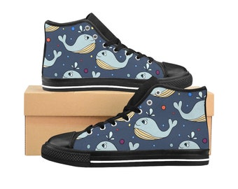 Cute Whales Womens HighTop Sneakers, Tennies, Tennis Shoes, Shoes