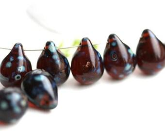 10x14mm Dark Topaz Teardrops Dark Brown Picasso czech glass drops Large glass Briolettes Brown raindrop - 6Pc - 2314
