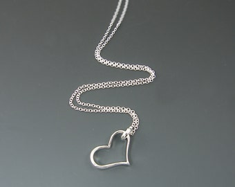Large Open Heart Necklace - Simple Minimalist Silver Heart Pendant Charm Your Choice of Long Chain 24 30 36 |SJ1-2